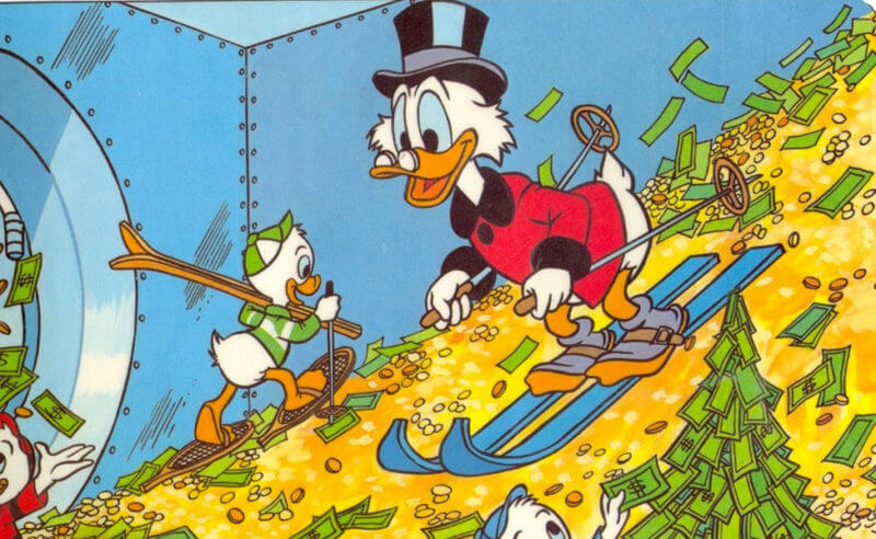 easiest money saving system - Scrooge McDuck enjoys playing with his money